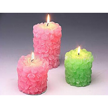 pink & green flower pillar candle