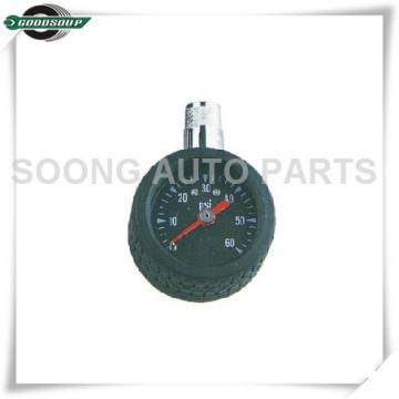 Chrome Plated F1.2 Dial Type Tire Gauge, Brass Stem Dial Air Pressure Gauge