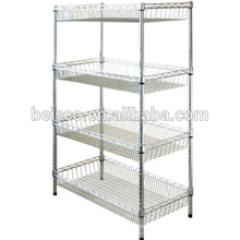 Wire Shelving with Five Shelves Chromed Wire Display Shelf Shelving Units