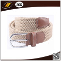 Fabric Braided Pure Color Elastic Stretch Belt with Brown Leather Tabs