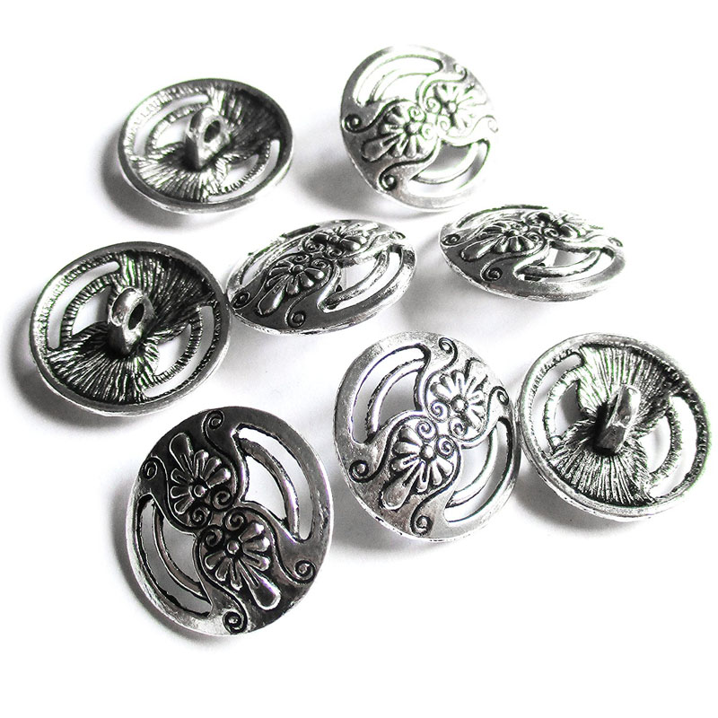 Silver Hollow Carved Buttons