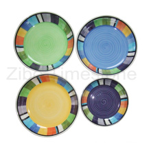 Stoneware Hand-Painted Dinner Plate (TM7314)
