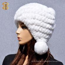 2015 Bonnet en fourrure en lapin en tricot pour femmes