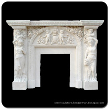European Traditional Statuary Carved Simple Style Marble Fireplaces (Custom Made Service)