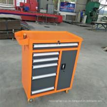 Werkzeugschrank aus Stahl mit Werkzeugkasten mit 4 Rädern