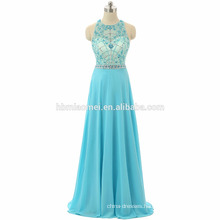 New arrival prom dresses light blue color one piece girls party wear heavy beaded floor length suzhou prom dress