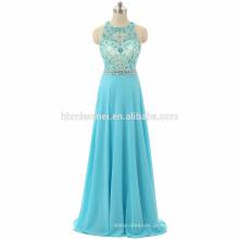 Nova chegada vestidos de baile de luz azul cor de uma peça meninas desgaste do partido pesado frisado até o chão suzhou prom dress