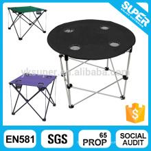 Открытый дешевый стальной складной кемпинг стол для пикника с держателем чашки