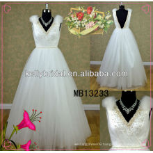 Whole tulle A-line princess fresh weddding dress floor lenght with V-neckline and backless