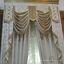 Jolie et chaude vente design de mode rideaux à rideaux transparents avec valance attachée