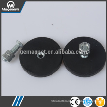 China gold manufacturer top level black rubber pot magnet