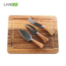 Holzkäse Schneidebrett und Messer Set