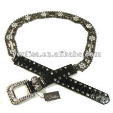 women's PU belt with black PU, clear rhinestones, alloy accessories, rivets, gun-metal plated