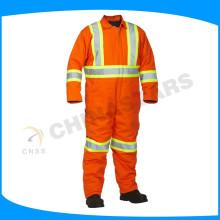 Laranja fluorescente laranja ignífugas macacão bombeiro segurança ternos em ambiente de calor de alta temperatura
