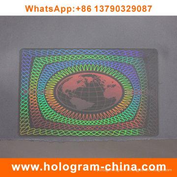 Hologramme transparent de la carte d'identification de sécurité laser 3D
