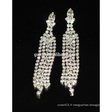 Nouvelle promotion Bridal Elegant Silver Drop Crystal Stud Earrings
