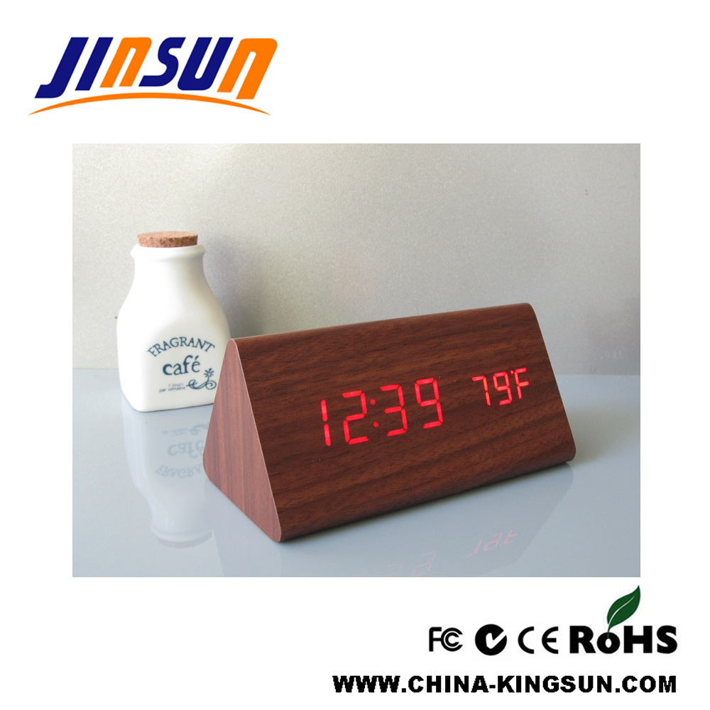 Triangle Led Wood Alarm Clock With Temperature