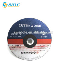 Reinforced abrasive cutting disc for stainless steel