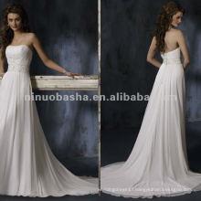 Elegant strapless appliques sash high waist wedding dress/evening gown