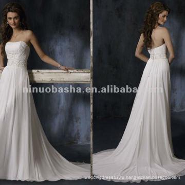 Элегантный без бретелек аппликация пояс высокая талия свадебное платье/вечернее платье