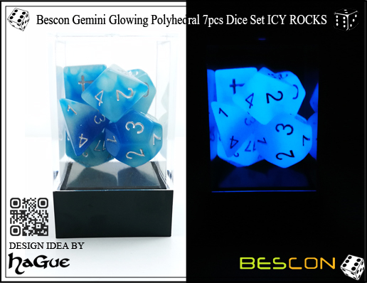Bescon Gemini Glowing Polyhedral 7pcs Dice Set ICY ROCKS-New Version-4
