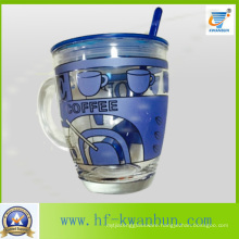 Glass Cup Mug with Lid with Decal Coffee Mug Kb-Hn0735