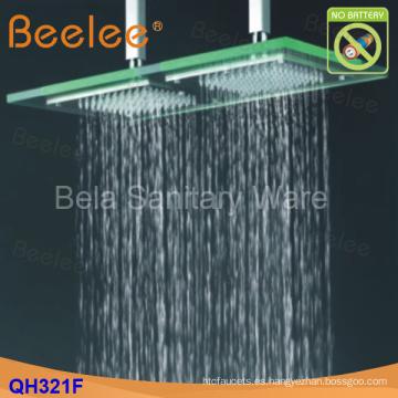 Cabezal de ducha de arriba montado techo de cristal de la energía hydráulica del poder del LED 50 * 25cm (Qh321f)