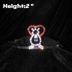 2inch Lovely Teddy Bear Crystal Princess Crowns