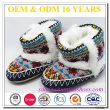 Zapato de bebé de invierno de bebé de punto con suela de gamuza suave