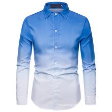 Gradient Shirts Men Dress Luxury Brand Casual Business Party Shirt
