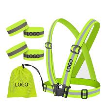 Sold as Set High Visibility Reflective Safety Vest Elastic Adjustable Running Sash Set Buckle Closure Custom Logo
