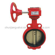 Fire Protection Wafer Worm Gear Drive Butterfly Valve