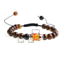Silver Crown Syn.Amber Tiger Eye Woven Beads Bracelet