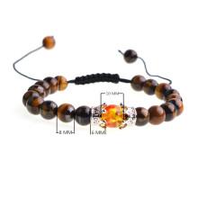 Silver Crown Syn.Amber Tiger Eye Woven Beads Gelang