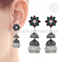 Women's Jhumka Jewelry 925 Sterling Silver Earring Supplier Indian Silver Jewelry