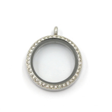 Bijoux en cristal rond en acier inoxydable de 30 mm Living Charms Locket