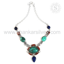 Gorgeous Multi Gemstone Jewelry Necklace Supplier Indian Silver Jewelry