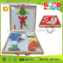 Exquisite Kindergarten Toys Hardwood Magnetic Puzzle Blocks w/ guide cards