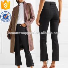 La ropa acampanada cosechada alta de las mujeres de la manera de la fabricación de los pantalones vaqueros acampanados recortados angustiados (TA3062P)