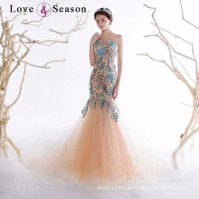 OB96350 lace appliques bead pattern lace train mermaid back pattern evening dress
