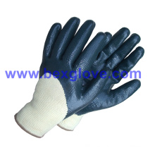 10 Gauge Polyester Liner, Nitrile Coating, 3/4 Safety Gloves