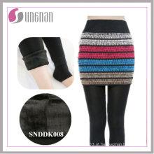 Culottes de falso de duas peças de moda de inverno 2015 adicionaram leggings de pé de lã