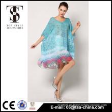 El diseño al por mayor 2015 de las mujeres de la impresión del pavo real nuevo cubre para arriba el vestido de la playa
