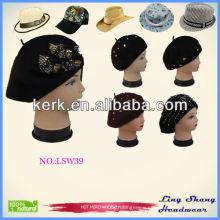 LSW39 Ningbo Lingshang fashion black ladies100% Wool Felt Hat