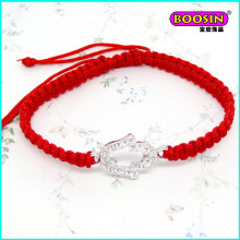 Nice Cheap Zinc Alloy Silver Charm Red Rope Bracelet