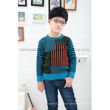 Karen Kids Langarm Kontrastfarbiger Strickpullover