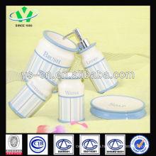 2014 Новые продукты Синий современный керамический набор для ванны с Decal Pattern