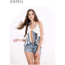 Women Sexy Deep V Flouncing Sleeve Striped Straps Strapless Tops Wild Women Small Shirt Blouse