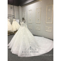 High Quality Super Puffy Wedding Dress 3D Flowers White Lace Long Sleeve 2018 Wedding Dress
