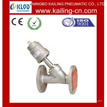 Válvula de asiento en ángulo neumático brida extremo / válvula de Control neumática